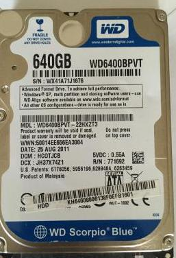 Disco duro wd, 2,5, sata, 640gb, buen estado.
