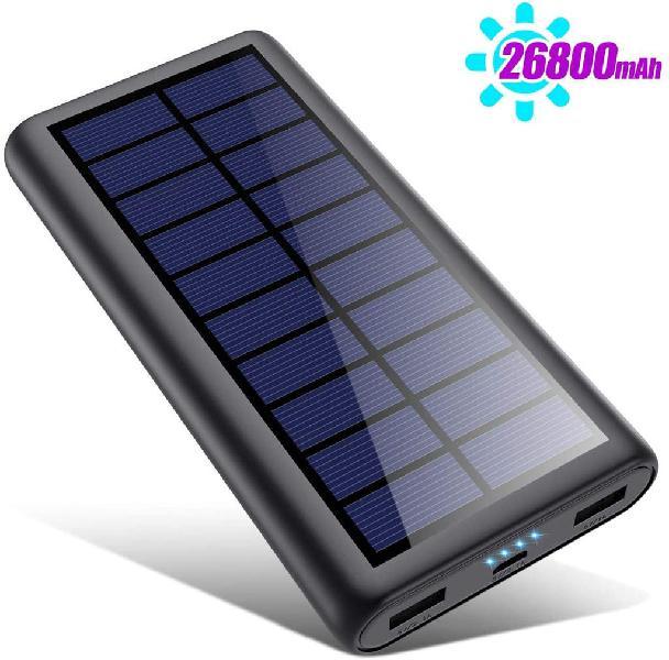 Cargador solar 26800mah, batería externa de carga