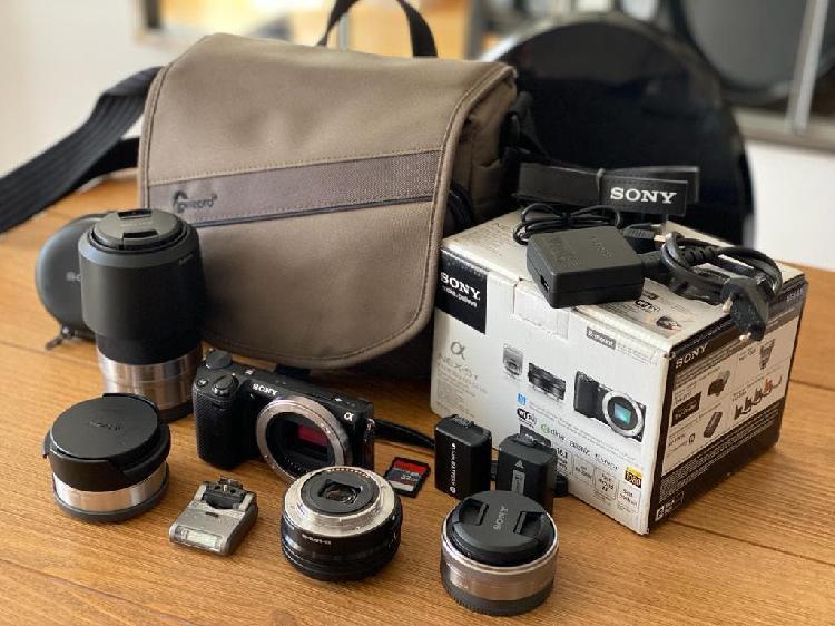 Equipo fotografia sony nex-5t 4 obj flash y bolsa