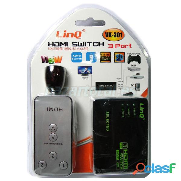 Conmutador switch de 3 puertos hdmi con mando a distancia