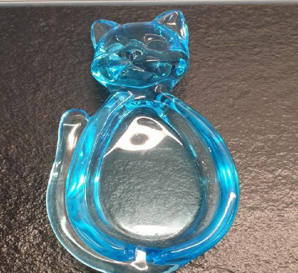 Cenicero de gato azul de murano. (envío 4,31€)