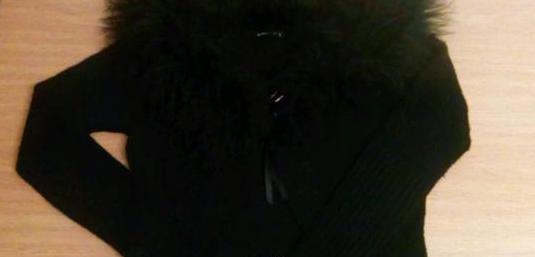 Chaqueta cuello piel oveja t. l negra