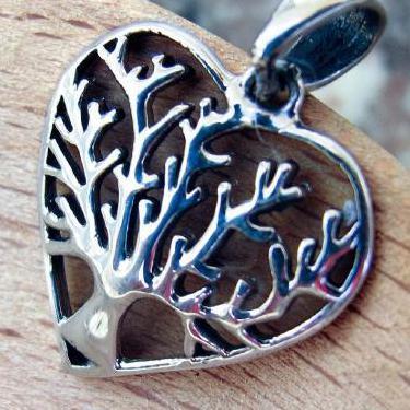 Colgante corazon arbol vida plata 925