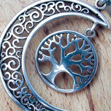 Colgante luna celta arbol vida plata 925