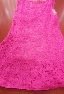 Vestido rosa fosforito talla 3/4 años