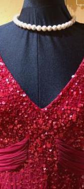 Vestido de fiesta rojo burdeos