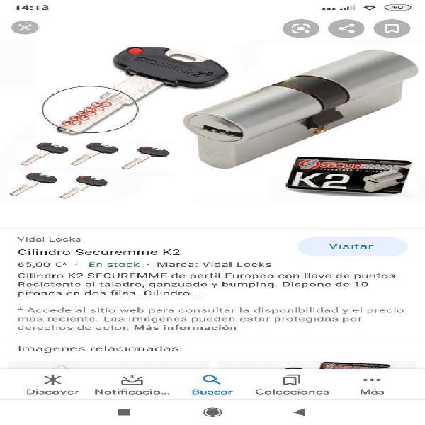 Cilindro k2 securemme de perfil europeo con llave