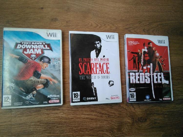 Lote 3 juegos wii - scarface,tony hawk,red steel