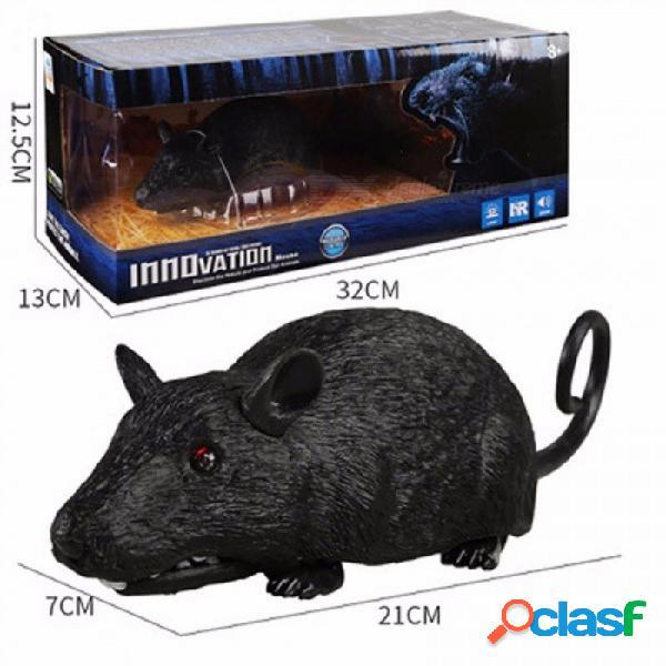 Control remoto del animal doméstico rc simulación de luz flash del ratón modelo de juguete broma difícil miedo robot insecto animal juguete gris oscuro