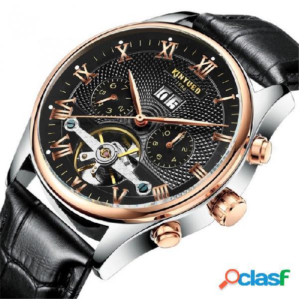KINYUED hombres esqueleto tourbillon mecánico reloj automático clásico oro rosa de cuero mecánico reloj de pulsera blanco