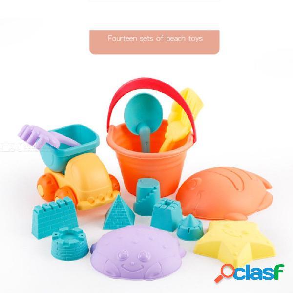 La arena de la playa de la diversión del agua 14pcs / set juega el caucho suave para los niños que juegan el castillo
