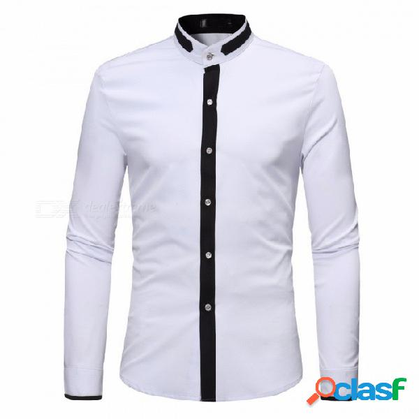 Moda para hombre conjunta sólido sólido de manga larga cuello camisa hombres color sólido camisas de manga larga s-xl negro / s