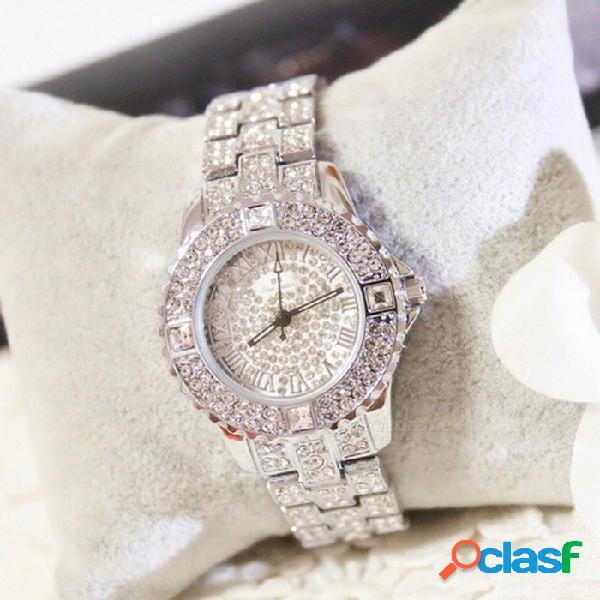 Reloj de pulsera de cuarzo de cristal de diamantes de imitación de moda elegante cristalino mujeres reloj de pulsera de lujo de diamantes