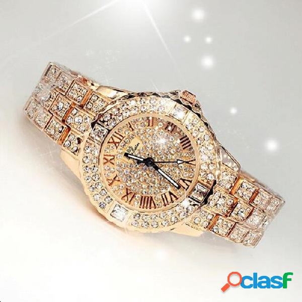 Reloj Elegante De Diamantes De Imitación Con Estilo De Diamantes De Imitación Para Mujer, Reloj De Pulsera De Cuarzo Y Diamantes De Lujo, Oro Rosa