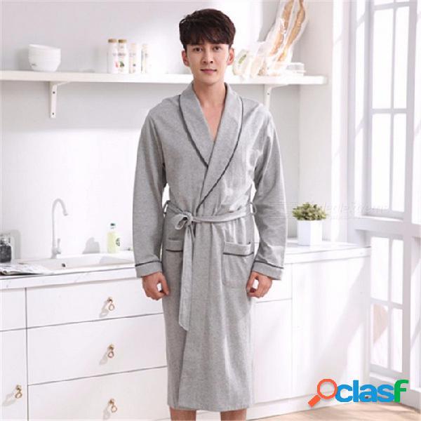 Batas de manga larga de otoño e invierno para hombres, tejido de algodón, bata de baño, camisón gris / m