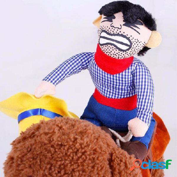 Dibujos animados mascota vaquero montar a caballo suministros para mascotas ropa cosplay halloween ropa para perros azul / s
