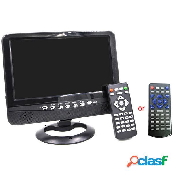"""Reproductor de tv lcd portátil de 9 """"con fm / tarjeta sd / usb / cargador de coche - negro + plata (640 x 234)"""