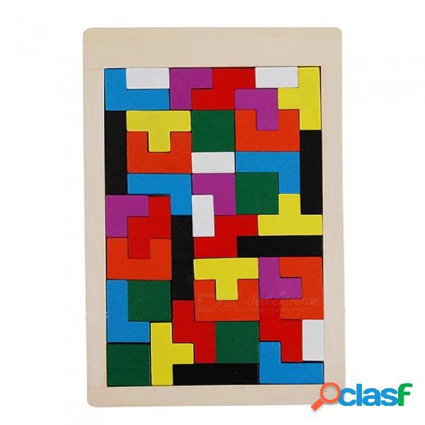 Rompecabezas de madera del rompecabezas del tetris del cerebro del rompecabezas del tangram de 40 pedazos para los niños - color mezclado