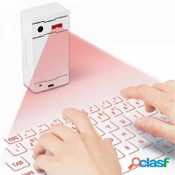 Teclado bluetooth inalámbrico virtual tecla externa proyección teclado smartphone portátil tableta pc portátil plata