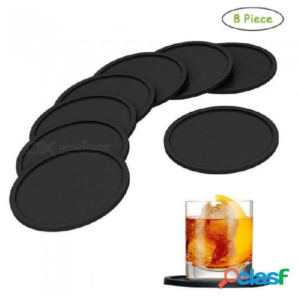 8 unids de silicona negro práctico de costa posavasos para manteles para mesa de la cena mantel individual almohadillas de silicona set cocina negro