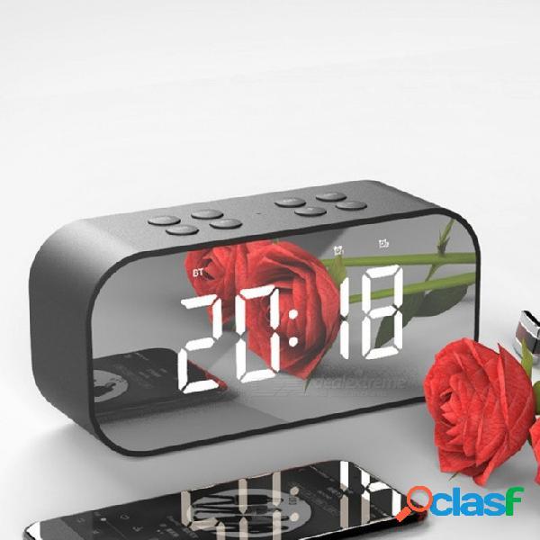 Bluetooth 5.0 portátil inalámbrico bluetooth altavoz subwoofer música caja de sonido led tiempo snooze despertador rojo / altavoz