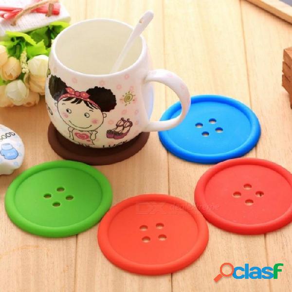 Botones taza almohadilla vajilla taza de silicona almohadilla posavasos estera taza mesa de comedor café resistente al calor cocina herramienta 5 unids / lote 5 unids / lote
