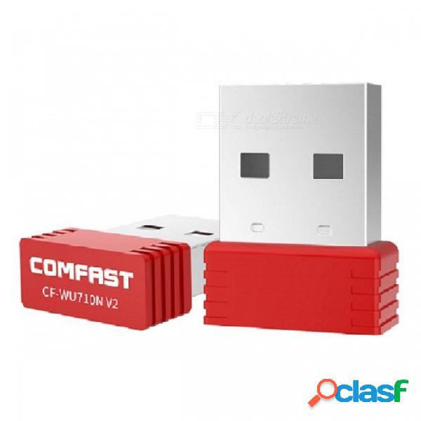 Comfast cf-wu710n v2 mini usb 150mbps adaptador de red inalámbrica wi-fi, transmisor receptor portátil de escritorio-rojo