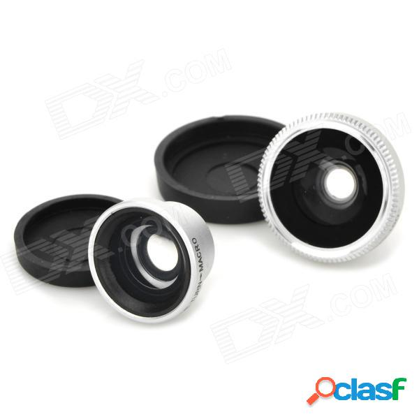 Lente ojo de pez multifuncional 3 en 1 + gran angular + macro para iphone 3/4/5 / 4s - negro + plata