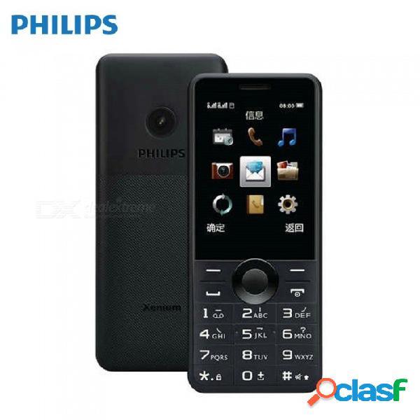 Philips e168 con doble sim de larga duración de 2,4 pulgadas con teléfono y batería de 1600 mah, cámara trasera de 0.3mp - enchufe de ee. uu. negro