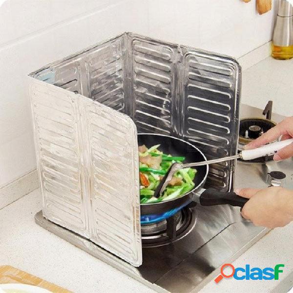 Accesorios de cocina que cocinan la cubierta de la pantalla del chapoteo del aceite de la sartén anti salpicadura protector del escudo divisor del aceite de plata