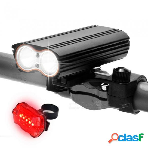 Aibber tone 7000 lumen xm-l led usb recargable bicicleta luz lámpara linterna linterna + luz trasera de bicicleta
