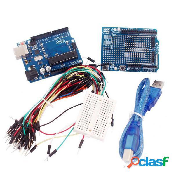 UNO R3 + Placa + Placa De Expansión / Mini Tablero De Pan + Cables De Arranque Para Arduino - Azul + Negro