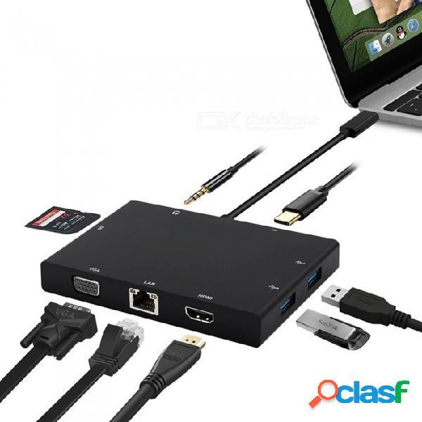Usb 3.1 tipo c hub a hdmi vga rj45 conmutador ethernet gigabit, lector de tarjetas sd de 3,5 mm de audio tipo-c pd adaptador de carga