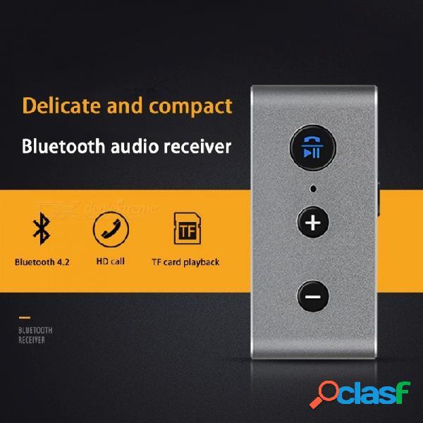 Adaptador de receptor inalámbrico de metal para automóvil, mini receptor de bluetooth, audio, para altavoz, auriculares, plateado