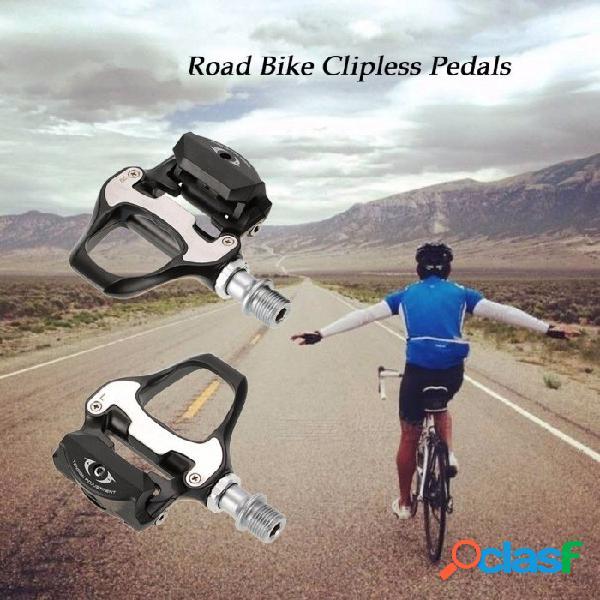 Bicicleta bicicleta pedalada ciclismo pedales bicicleta pedales con 6 placas de bloqueo para ahorrar velocidad mtb ciclismo en ruta negro