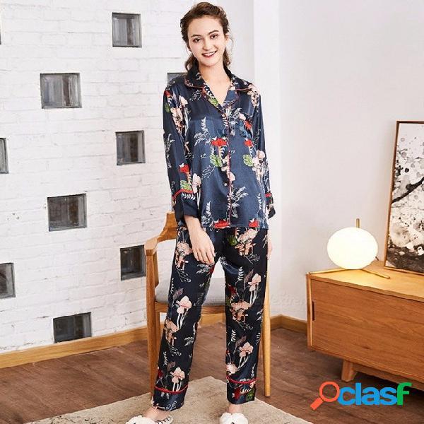 Conjunto de pijamas de seda de moda de primavera, top y pantalones de manga larga para mujer, traje homewear de dos piezas marrón / xl