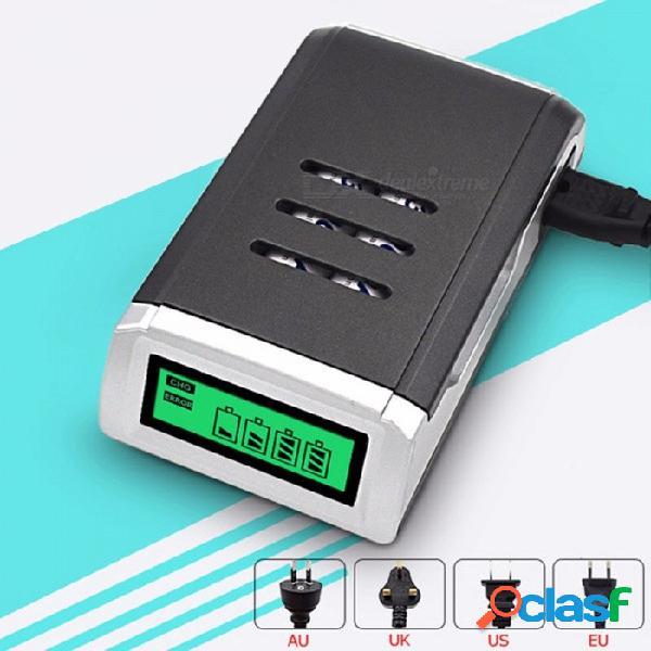 El cargador de batería inteligente elegante de la exhibición de c905 lcd con 4 ranuras diseña para el aa / aaa nicd nimh pilas recargables gris oscuro / us