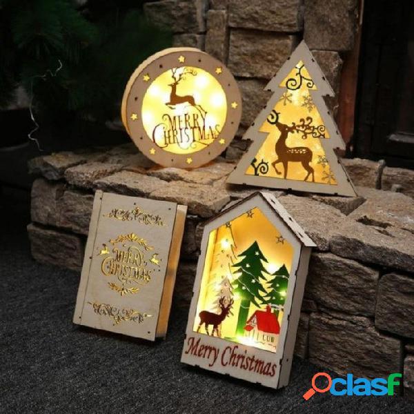 Escritorio de navidad decoración de la pared adornos decoraciones de pared de navidad para el hogar barra de luz cálida led madera luminosa cabañas regalo para niños triángulo