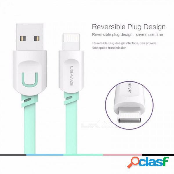Usams 2.1a carga rápida 0.25m 1m 1.5m cable plano cable relámpago cable de carga para iphone 8 7 i6 iphone 6 6s x cable gris / 1.5m