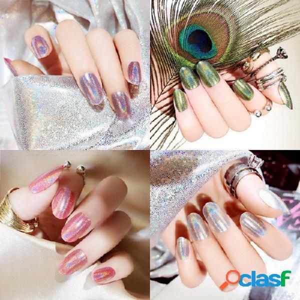 24 piezas / ajuste láser gradiente mágico cambio de luz uñas artificiales artificiales, consejos de arte de uñas cubierta completa uñas postizas blanco