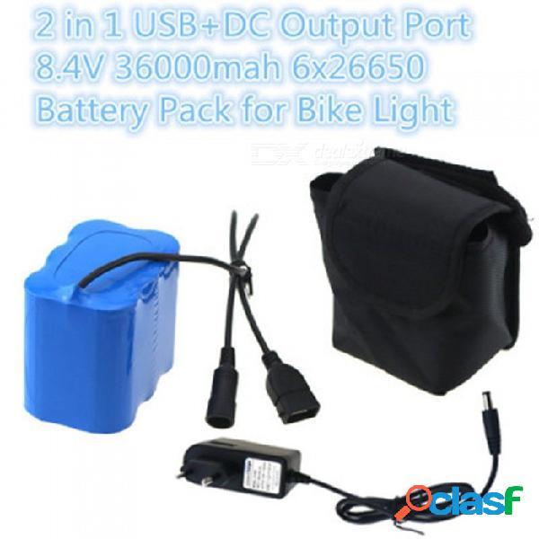 Batería de luz led para bicicleta de montaña aibber tone 6 x 26650 puertos usb + dc 8.4v 36000mah batería de litio recargable