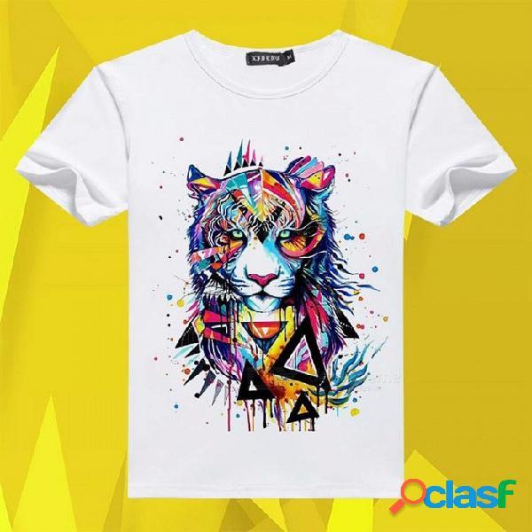 Camiseta de manga corta para hombres camiseta de algodón con estampado de algodón o-cuello camiseta blanca / s