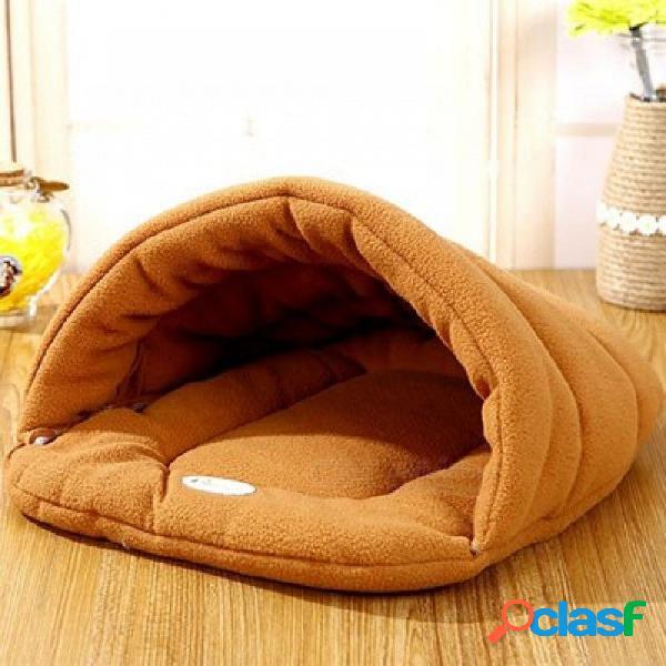 Mascota gato cama perro pequeño perrito cama perrera sofá polar polar material cama mascota estera gato casa gato saco de dormir cálido nido naranja