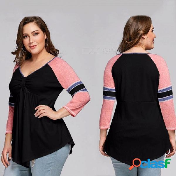 Moda contraste de color con cuello en v manga larga camiseta para las mujeres más el tamaño para mujer tops negro / xl