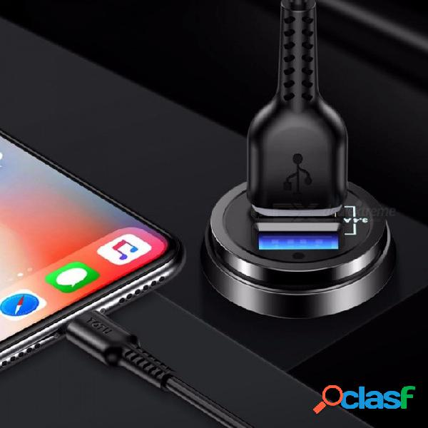 Totu dual usb cargador de carga rápido inteligente cargador de coche con cable de datos de primavera para teléfonos móviles negro / manzana