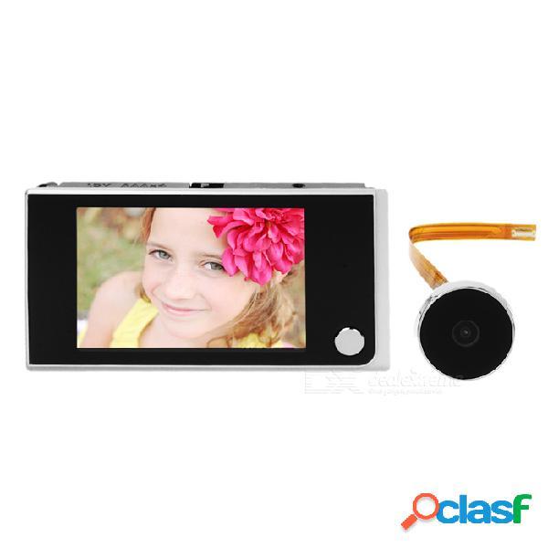 """Visor de mirilla digital de 3,5"""" timbre de puerta inteligente de 120 ° ojo - negro + blanco plateado"""