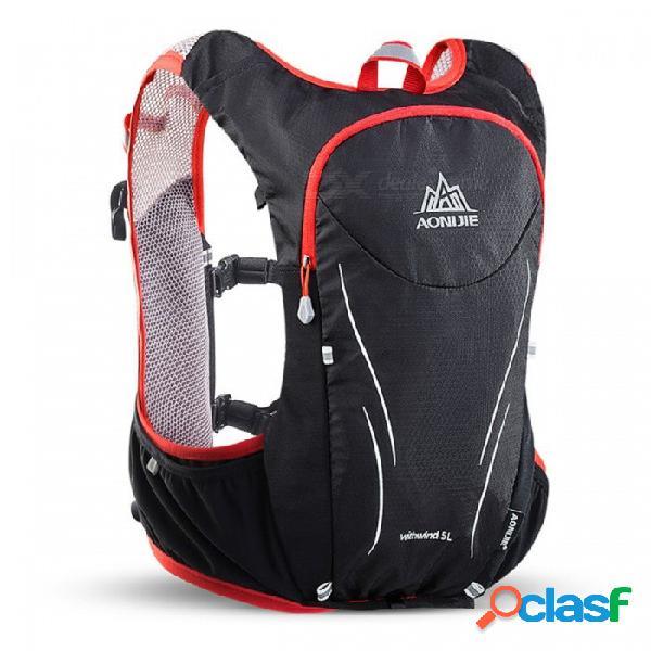 Aonijie e906s chaleco actualizado tipo 5l bolsa mochila para maratón, montar a caballo, deportes - negro + rojo