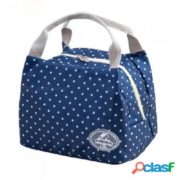 Bolsa de almuerzo portátil con aislamiento térmico bocadillo caja de almuerzo llevar bolsa de almacenamiento de viaje bolsa de comida de picnic para niñas mujeres azul