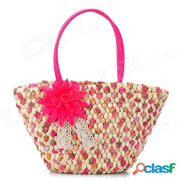 Bolso de mano de paja de salvado de maíz con un hombro de moda para mujer - color rosa oscuro o beige