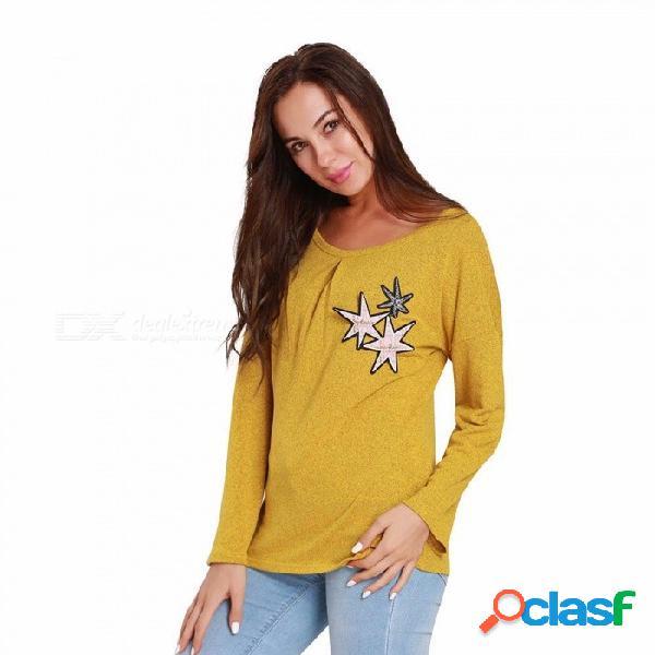 Camiseta de las mujeres cuello redondo manga larga chica carta casual sudadera camiseta tops gris / s
